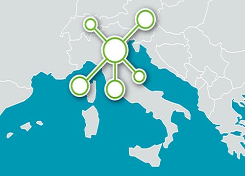 Cartina Italia con icono network